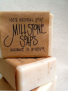 Hand lettered, kraft paper soap #artisan #soap #handmade More