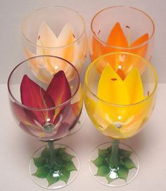 Handpainted Lily Wine Glasses
