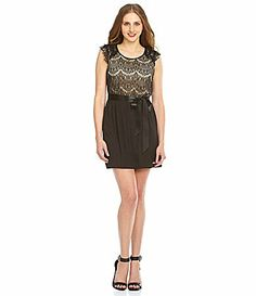 Sequin hearts lace chiffon dress