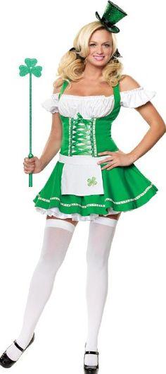 Ladies Saint Patrick Lady Leprechaun Costume Women Irish Religious Day Outfit