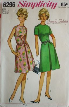 1960s One Piece Dress Simplicity 6296 Bust 32 Vintage Sewing Pattern by BluetreeSewingStudio on Etsy