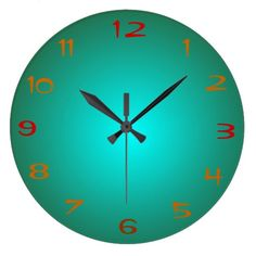 Plain Green/Aqua Illuminated Design>Kitchen Clocks
