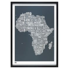 Africa Type Map Print - Slate