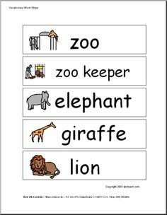 """Word Wall: Zoo (pictures) - From """"alligator"""" to """"zoo train."""" These vocabulary building word strips with pictures are great for word walls, sentence strips, spelling and vocabulary practice. Preschool Word Walls, Preschool Zoo Theme, Preschool Classroom, Preschool Ideas, Kindergarten, Vocabulary Words, Vocabulary Practice, Vocabulary Building, Sentence Building"""