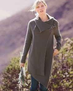 Love the style on this asymmetrical boiled wool coat.