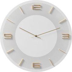 Hodiny LEONARDO WHITE Kare Design, Leonardo, Aluminium, Home Deco, Retro, White Gold, Wall, Pile Aa, Relief