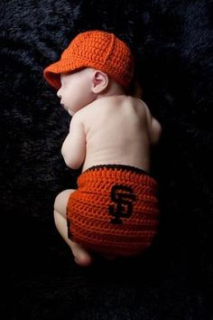 Baby Baseball Team Hat and Diaper Set (choose your team) featured in San Francisco Giants colors    I need to knit this.