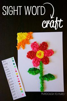 Pretty Tissue Paper Sight Word Craft. Great literacy and fine motor activity in one.