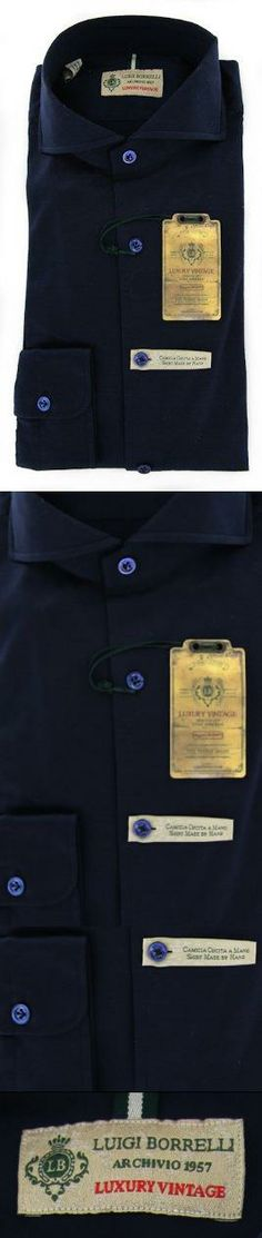 New Borrelli Navy Blue Shirt M/M Made In:. Fabric Type:. Retail Price: $375.00.  #Borrelli #Apparel