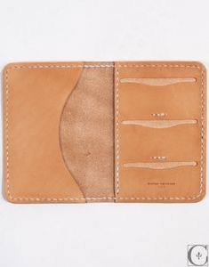 "$150.00 Kenton Sorenson Leather Passport Wallet -Hand Made in Wisconsin  3oz Vegetable Tanned Leather  Context Exclusive 9"" in width when open, length 6.25""  Heavy Waxed Thread"