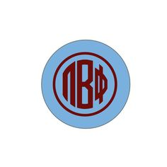 Pi Beta Phi Button . Maroon Monogram . 2.25""
