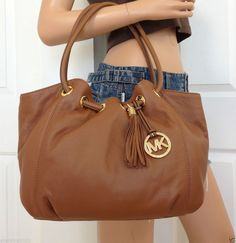 a7dd5cfa73c8 Nwt michael kors brown luggage large leather shoulder ring tote bag purse