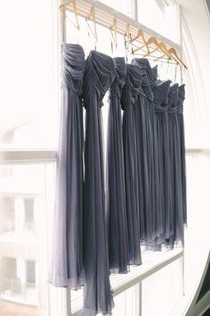 Ruched gray chiffon bridesmaid dresses. Photography: Weber Photography- Cory Weber - weber-photography.com