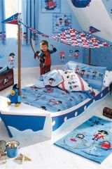 Dylan's Pirate Bedroom - duvet cover, rug, canvases, wall stickers and parrot!