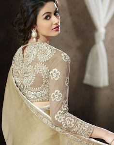 Designer sheer / net blouse designs for lehenga and sarees - Bridal sheer back and sleeves blouse design for net saree, lehenga for wedding. Saree Jacket Designs, Netted Blouse Designs, Blouse Neck Designs, Choli Designs, Blouse Patterns, Indian Dresses, Indian Outfits, Sari Bluse, Indische Sarees