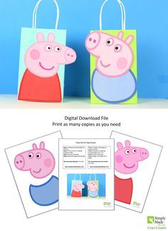 DIY Peppa Pig and George Party Favor Bags - trouvaille Peppa E George, George Pig Party, 3rd Birthday Parties, 2nd Birthday, Peppa Pig Birthday Cake, Peppa Pig Cakes, Lila Party, Cumple Peppa Pig, Ideas Party