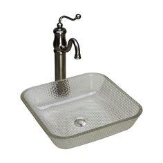 JSG Oceana 005 016 000 Glass Square Cubix Vessel Sink   Crystal   Wave