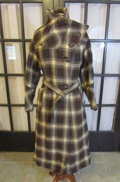 Classic Vintage Plaid Coat Brown Wool Swing Great Style Nice | eBay