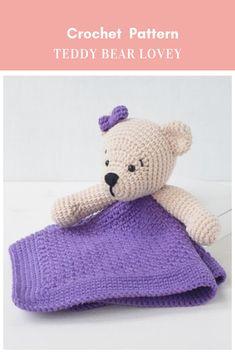 Crochet Baby Blanket Free Pattern, Crochet Lovey, Crochet Teddy, Crochet Patterns, Free Crochet, Lovey Blanket, Baby Boy Blankets, Baby Crafts To Make, Baby Lovey