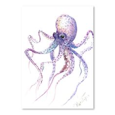 Add some color to your home with the Americanflat Suren Nersisyan Designs Octopus 5 Matte Print. This stylish octopus design has never looked better than this sturdy matte print. Includes a ready-to-hang wood frame with a glass cover. Painting Frames, Painting Prints, Watercolor Paintings, Art Prints, Watercolor Ocean, Octopus Design, Animal Sketches, Cool Posters, Beach Art