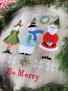 """Cross Stitch Charts """"Be Merry"""" Count Stitch 151 x 200 Embroidered with DMC yarn on linen Edinburg Zweigart On request, you can buy the scheme also in PDF format, you will be immediately refunded of the shipping costs"""