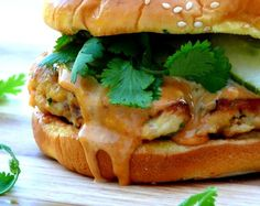 Salmon Burgers with Spicy Hoisen Mayo   Yields 4 Burgers  ~ Inspired by Cooking Light
