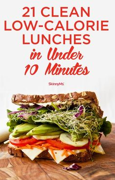 These 21 Clean Low-Calorie Lunches in Under 10 Minutes are so good that you won't even miss your favorite takeout lunch spot! Low Calorie Lunches, No Calorie Foods, Low Calorie Recipes, Low Calorie Vegetarian Meals, 300 Calorie Meals, Paleo Diet, Ketogenic Diet, Clean Eating Recipes, Lunch Recipes