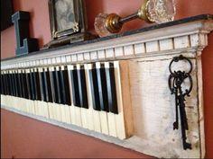 56 Ideas For Music Room Design Decorating Ideas Piano Keys Repurposed Furniture, Diy Furniture, Vieux Pianos, Piano Crafts, Piano Art, Piano Lamps, Family Room Walls, Old Pianos, Piano Keys