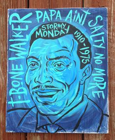 1ba470a7e12ae T-Bone Walker blues folk art painting on wood by Grego of mojohand.com -  outsider art