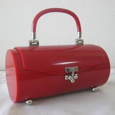 RESERVED Fantastic French Rare Red Lucite Purse by retrofilly