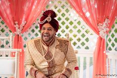 West Indian Groom at Hindu  Wedding Ceremony at the Mansion in voorhees New Jersey conducted by DJ Raj Entertainment - Ajay and Aarti - mixed wedding - Sindhi Bride and Guyanese Groom.  Best Wedding Photographer PhotosMadeEz. Award Winning Photographer Mou Mukherjee - Candid photo. Photo journalism