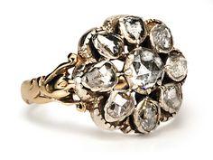 Glorious Georgian Diamond Cluster Ring  1800
