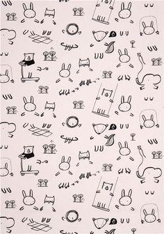 white animal children crafting fabric by Dear Stella USA 2