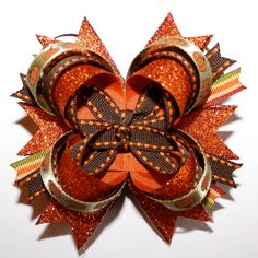 Autumn Pumpkins Glitter Stacked Hair Bow..Fall Thanksgiving Orange