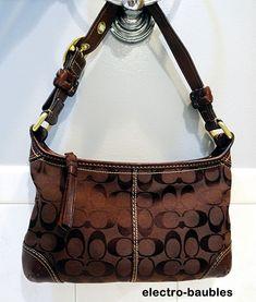 Starting under $10 - COACH SIGNATURE JACQUARD Small Bleeker Handbag #F0726-11430 in Brown #Coach #ShoulderBag