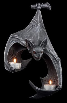 Bat Wall Tealight Holder by Figuren Shop GmbH ✓ Fast Delivery ✓ Buy now cheap at www. Goth Home Decor, Gothic Bedroom, Gothic Furniture, Cheap Furniture, Deco Originale, Modelos 3d, Gothic House, Tea Light Holder, Vampires