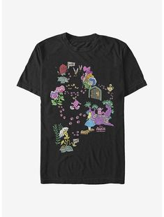 Disney Alice In Wonderland Cheshire Map T-Shirt Alice In Wonderland Flowers, Alice In Wonderland Characters, Danielle Nicole Disney, Disney Men, Disney Outfits, Disney Clothes, Cool Tees, Tshirts Online, Order Prints