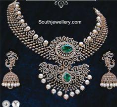 Diamond Necklace and Jhumkis Set photo