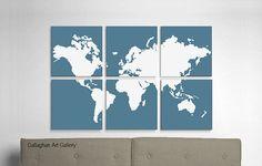 Large World Map Screen Print in Custom by CallaghanArtGallery, $175.00