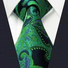 Q5 Floral Deep Green Black Purple Mens Necktie Ties 100% Silk Jacquard Woven
