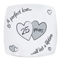 Wedding Plate 25th Silver Anniversary Perfect Love Gift Idea Gifts