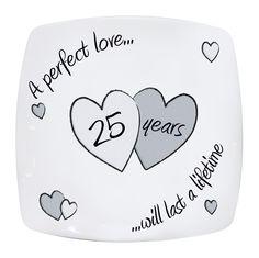 Wedding Plate 25th Silver Anniversary Perfect Love Gift Idea