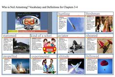 """Vocabulary cards for chapters 3-4 of the story """"Who is Neil Armstrong?"""