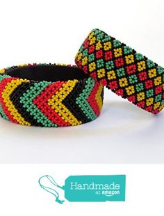 African Zulu beaded large bangle – Rasta colours - Gone Rural Rasta Colors, Filets, Beaded Jewelry, Jewellery, Gifts For Her, Bangles, Colours, Etsy, Pattern