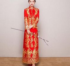 Retro Chinese Womens Red Embroider Cheongsam Wedding Bride Qipao Tops Dress Long