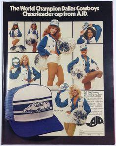 Dallas Cowboys Cheerleaders '70s AJD Trucker Cap Hat Advertisement Print Ad Vintage 1978 #DallasCowboys #DallasCowboysCheerleaders #1970s
