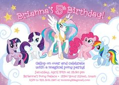 My Little Pony Birthday Party, 6th Birthday Parties, Birthday Ideas, Free Birthday Invitation Templates, Birthday Party Invitations, Invitation Ideas, Invites, My Little Pony Invitations, Princesa Celestia