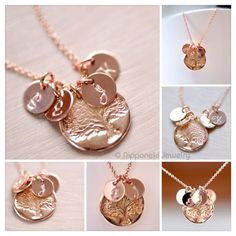 Mother's Necklace - Rose Gold Initial Charm - Rose Gold Vermeil Family Tree Charm, Personalized Necklace , Tree of Life , Grandma's Necklace on Etsy, $40.00