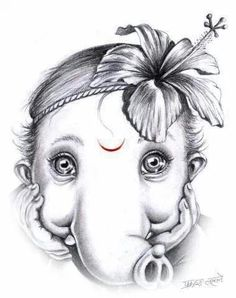 No photo description available. Ganesha Sketch, Ganesha Drawing, Ganesha Tattoo, Lord Ganesha Paintings, Lord Shiva Painting, Ganesha Art, Krishna Art, Jai Ganesh, Shree Ganesh