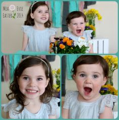 Spring means Flowers for Photo Shoots!  Toddler Girl Sisters Collage